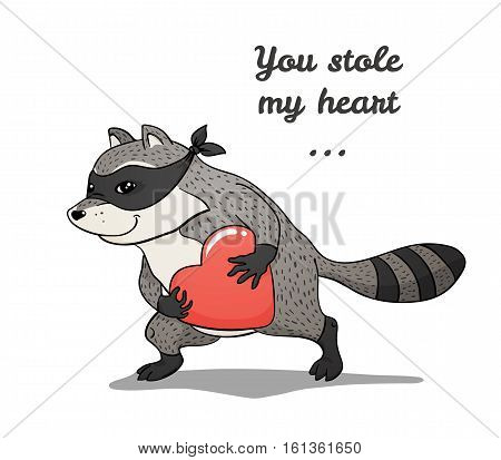 Raccoon thief with a stolen heart, color vector hand-drawn illustration, isolated on white background