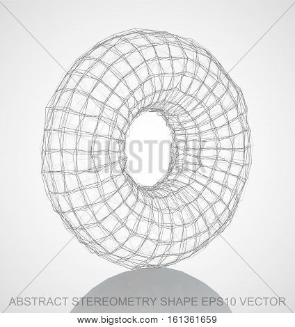 Abstract geometry shape: Pencil sketched Torus with Reflection. Hand drawn 3D polygonal Torus. EPS 10, vector illustration.