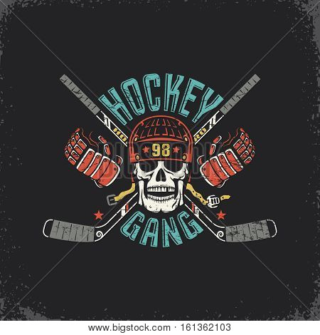 Retro logo for the hockey club with a skull in a helmet crossed sticks and gauntlets. Scratches on a separate layer and can be easily disabled.