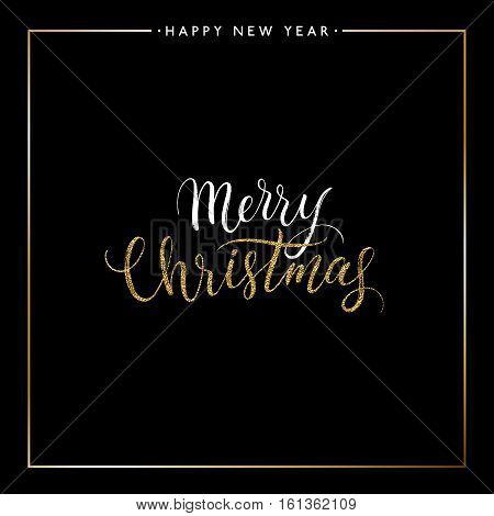Merry Christmas gold glitter text isolated on black background, hand painted letter, golden vector Xmas lettering for holiday card, poster, banner, print, invitation, handwritten calligraphy