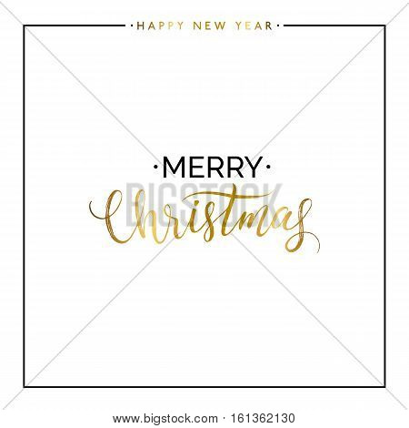 Merry Christmas gold text isolated on white background, hand painted letter, golden vector Xmas lettering for holiday card, poster, banner, print, invitation, handwritten calligraphy