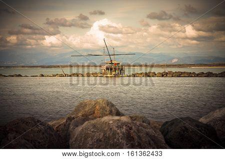 Trabucco typical italian fishing machine (Tuscany - Italy) - toned image