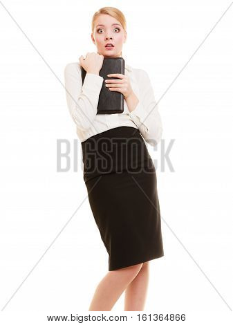 Portrait of emotional afraid businesswoman shy woman isolated on white. First day in new job or stress in work.