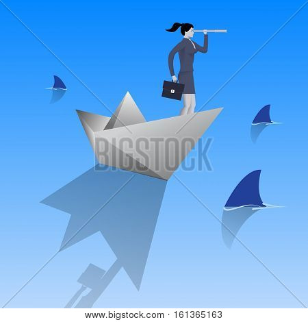 Swimming in dangerous water business concept. Confident business woman in business suit with case and looking glass swimming on paper boat in sea full of shark fin. Vector illustration.