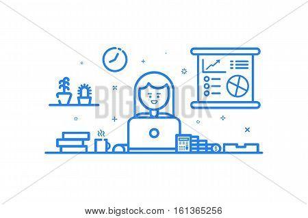 Vector illustration of blue icon in flat line style. Linear cute and happy girl. Graphic design concept of woman financial accountant use in Web Project and Applications Outline isolated object.