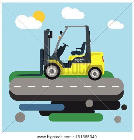 Loader car. Vector flat cartoon illustration. Forklift
