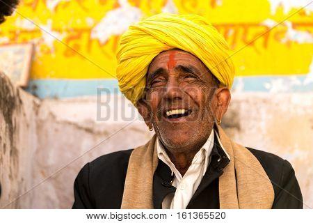 Brahmin senior man in Pushkar, India
