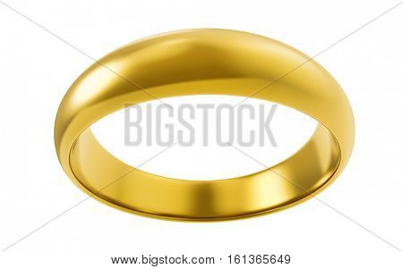 Blank gold ring isolated on white background. Engraving mockup. 3D rendering.