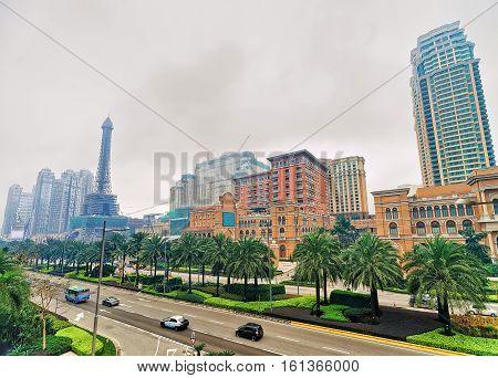 Macao China - March 8 2016: Macau Hotel and Casino luxury resort of Macao China