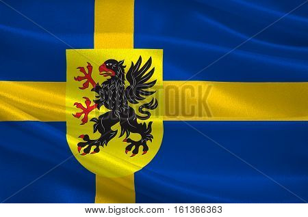 Flag of Sodermanland is a historical province on the south eastern coast of Sweden. 3d illustration