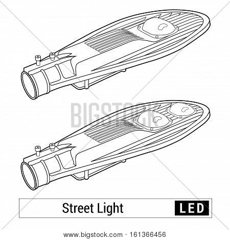Street light isolated vector. Linear scheme. Led