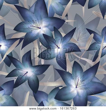 Blue fantasy lilly floral seamless pattern background