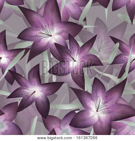 Purple fantasy lilly floral seamless pattern background
