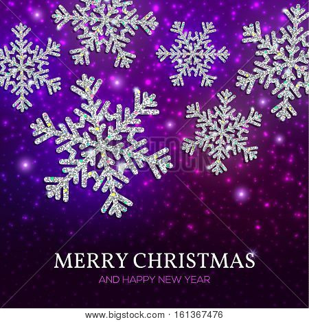 Christmas Banner Silver Snowflakes On A Purple Background