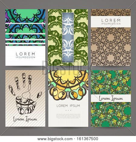 Set of vector design templates. Brochures in random colorful style. Vintage frames and backgrounds. Business card with monogram circle ornament. Mandala style in art nouveau.