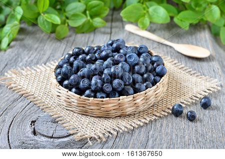 Fresh bilberry in a wicker basket on wooden table close up