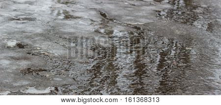 thaw in the winter when the ice begins to melt and the roads begins to flow water