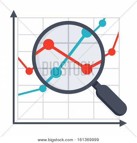 Line chart with magnifying glass concept for financial analysis
