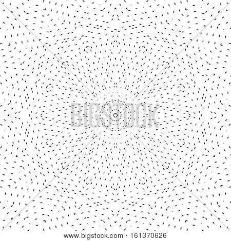 Dots art black and white mandala. Digitally generated bw mandala consisted of many black elliptic dots on white background.