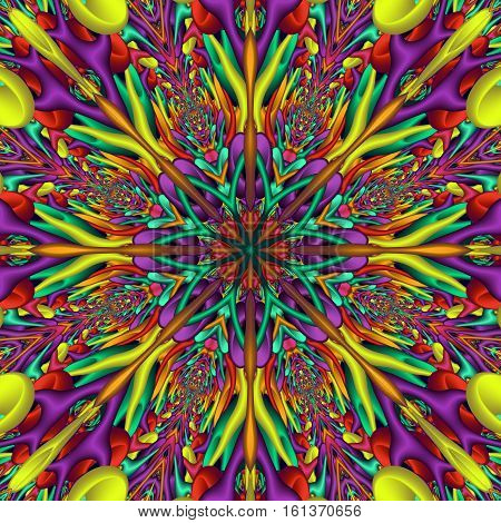 Rainbow colored glossy fractal mandala. Digitally generated colorful 3D mandala with many glossy elements.