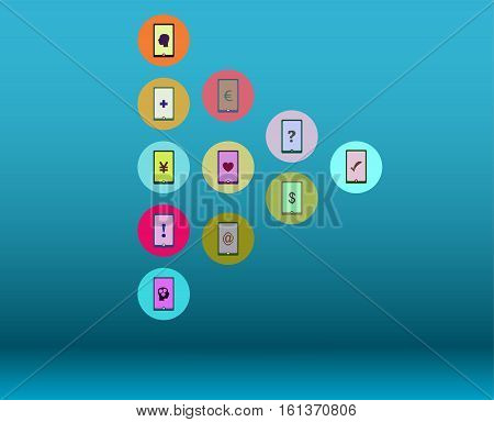 Social Media Network. Connected Symbols For Interactive, Market, Digital, Communicate, Connect, Glob