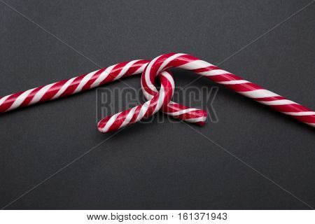 Two Red White Candy Canes Hooked Together