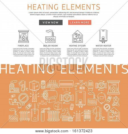 Heating elements outline vector. Linear heating system template for brochure poster.
