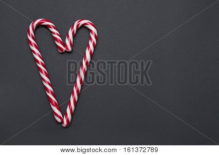 Two Sweet Candy Canes Making a Heart