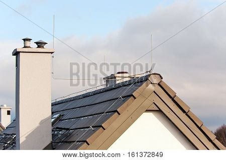 lightning conductor on the top of roof
