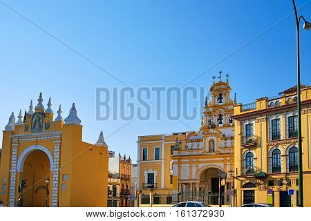 Seville Puerta de la Macarena and Basilica church in Sevilla Andalusia Spain