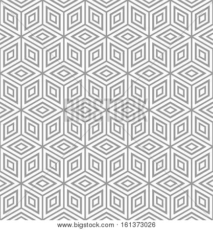 Seamless geometric texture. Diamonds and hexagons pattern. 3D illusion. Vector illustration.