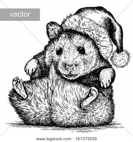 hamster closed his eyes with his paws, black and white engrave. Christmas hat.