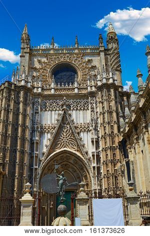 Seville cathedral Saint Christopher door Sevilla Andalusia Spain exterior image shot from public floor