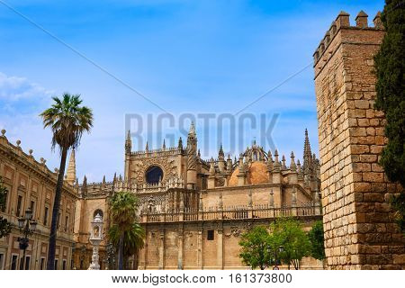 Seville cathedral and Archivo Indias Sevilla Andalusia Spain exterior image shot from public floor