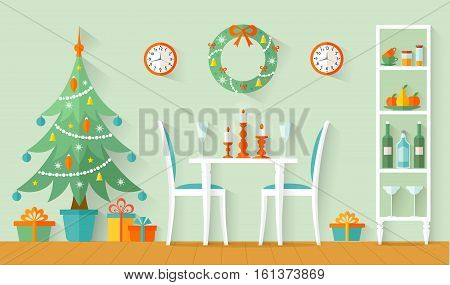 Dining room with festive Christmas dinner. The design of the room for the new year. Vector illustration in flat style.