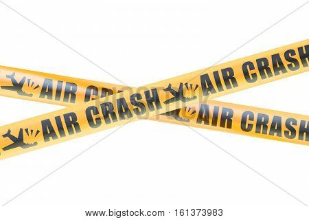 Air Crash Caution Barrier Tapes 3D rendering isolated on white background