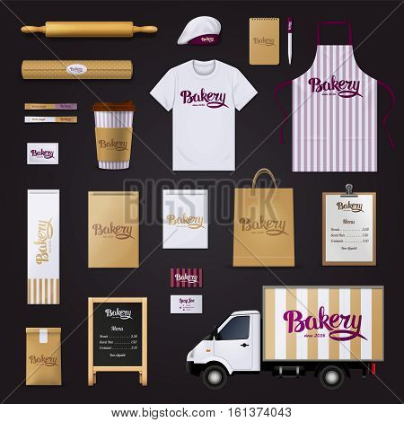 Deliciously creative bakery pastry shop visual corporate identity stripes design template basic items collection black background vector illustration