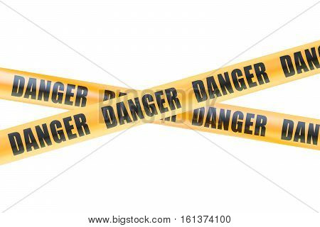 Danger Caution Barrier Tapes 3D rendering isolated on white background