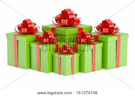 Green gift boxes with red ribbon and bow 3D rendering isolated on white background