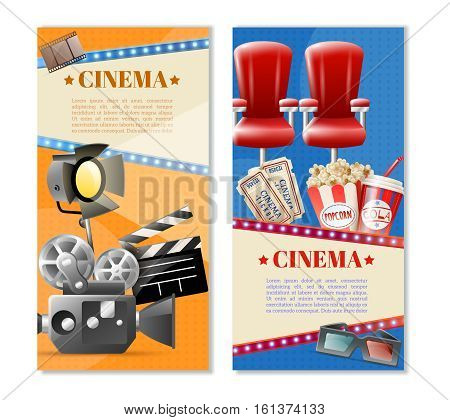 Cinema 2 retro vertical banners set with movie theater tickets seats popcorn and camera light isolated vector illustration