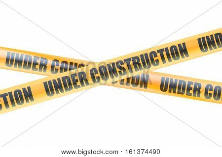 Under Construction Caution Barrier Tapes 3D rendering isolated on white background