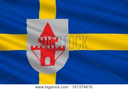 Flag of Nykoping is a locality and the seat of Nykoping Municipality Sodermanland County Sweden. 3d illustration