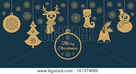 Gold Christmas pendants a bell with holly, ball, fir-tree with snowflakes, a deer in scarf, snowman in a hat, stocking. A border isolated on dark background. Vector illustration. Usable for design greeting card, banner, invitation.