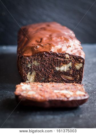Gluten-free chocolate cake made with green banana flour dates and nuts.