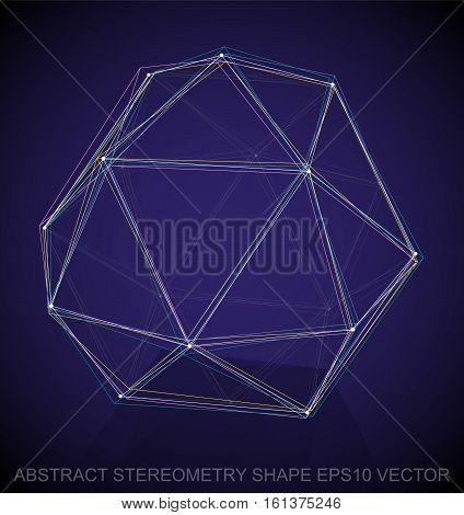 Abstract stereometry shape: Multicolor sketched Octahedron with Reflection. Hand drawn 3D polygonal Octahedron. EPS 10, vector illustration.