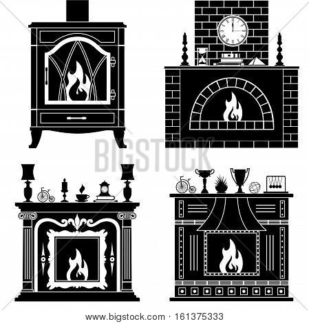 Fireplaces silhouettes isolated on white background. Set stencil fireplaces. Vector pattern.