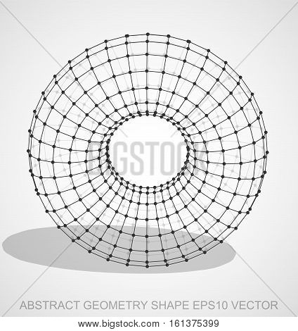 Abstract geometry shape: Black sketched Torus with Transparent Shadow. Hand drawn 3D polygonal Torus. EPS 10, vector illustration.