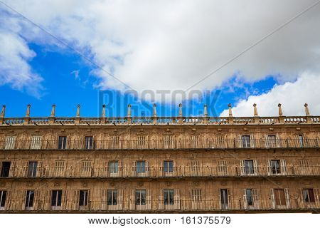Salamanca Plaza Mayor in Spain along via de la Plata way to Santiago exterior image shot from public floor