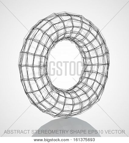 Abstract stereometry shape: Ink sketched Torus with Reflection. Hand drawn 3D polygonal Torus. EPS 10, vector illustration.
