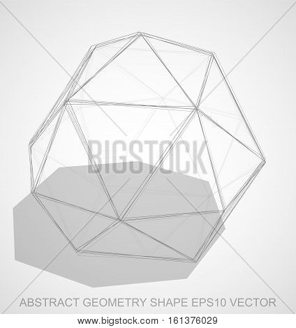 Abstract geometry shape: Pencil sketched Octahedron with Transparent Shadow. Hand drawn 3D polygonal Octahedron. EPS 10, vector illustration.
